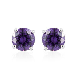 J Francis - Platinum Overlay Sterling Silver (Rnd) Stud Earrings (with Push Back) Made With Amethyst