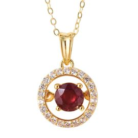 Heart Beat African Ruby (Rnd), Natural White Cambodian Zircon Pendant With Chain (Size 18) in Yellow
