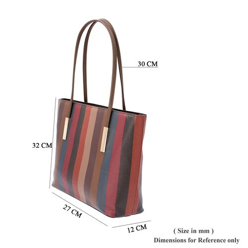 Classic Stripe Pattern Tote Bag with Zipper Closure and External Pocket (Size 32x11x26 Cm) - Brown and Multi