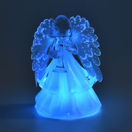 Angel with Trumpet Colour Changing Lamp (Size 15.5x10 Cm) - White (3xAAA Battery not Included)