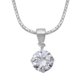 DOD- ELANZA Cubic Zirconia  (Rnd 8mm) Solitaire Pendant with Snake Chain in Sterling Silver