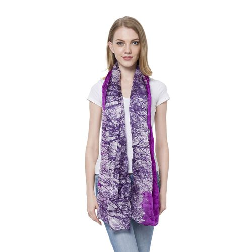 100% Mulberry Silk Black and Purple Colour Grove Pattern Scarf (Size 180x110 Cm)
