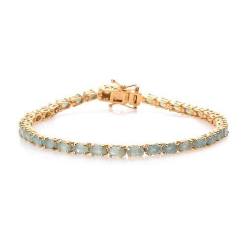 8 Ct Grandidierite Tennis Bracelet in Gold Plated Sterling Silver 8.40 Grams 7.5 Inch