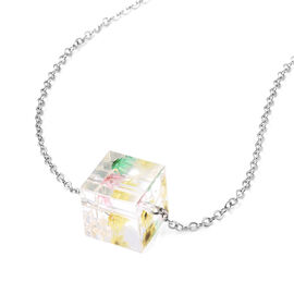 Pressed Flower Square Necklace (Size 21 with 2 inch Extender) in Silver Tone