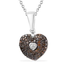 GP - Red Diamond (Rnd) and Blue Sapphire Heart Pendant with Chain (Size 20) in Platinum Overlay Ster