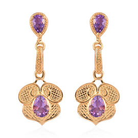Moroccan Amethyst Dangle Earrings (with Push Back)in 14K Gold Overlay Sterling Silver 2.00 Ct.