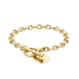 9k Yellow Gold Belcher Heart Toggle Bracelet Gold wt 7.50 Gms