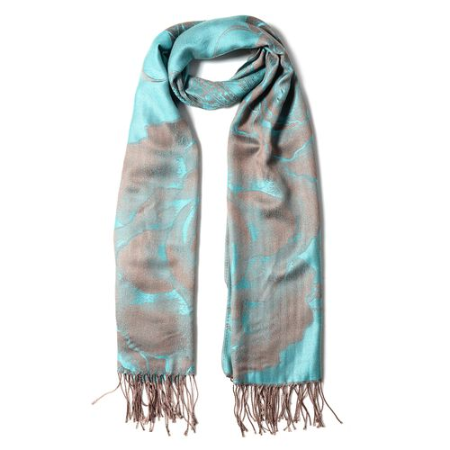 Turquoise Blue Colour Subshrubby Peony Flower Pattern Scarf (Size 190X68 Cm)