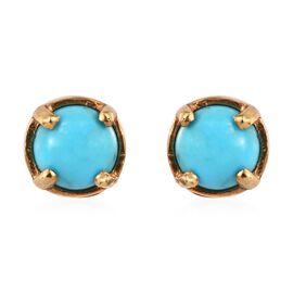 Arizona Sleeping Beauty Turquoise (Rnd) Stud Earrings in 14K Gold Overlay Sterling Silver 1.00 Ct.