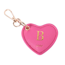 Pink Genuine Leather Heart Shaped Initial B Key Chain (7x6cm)
