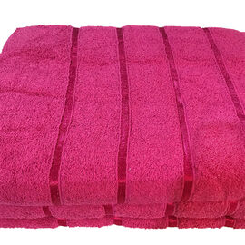 3 Piece Set 100% Combed Cotton Full Size Bath Sheets - Fuchsia (93 x 138 cm)