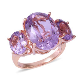 Rose De France Amethyst (Ovl 18x13 mm) Ring in Rose Gold Overlay Sterling Silver 15.830 Ct, Silver w