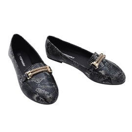 Croc Slip Snake Shoe in Black