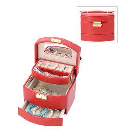 Grace Collection - Lizard Skin Pattern Three Layer  Anti-Tarnish Jewellery Storage Box with Lock & K