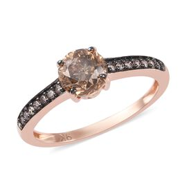 9K Rose Gold SGL Certified Natural Champagne Diamond  (6mm 0.90 Ct, I3)  Ring 1.00 Ct.