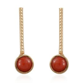 Mediterranean Coral (1.50 Ct) 14K Gold Overlay Sterling Silver Earring  1.500  Ct.