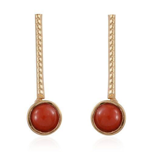 Natural Mediterranean Coral (Rnd) Earrings in 14K Gold Overlay Sterling Silver 1.500 Ct.