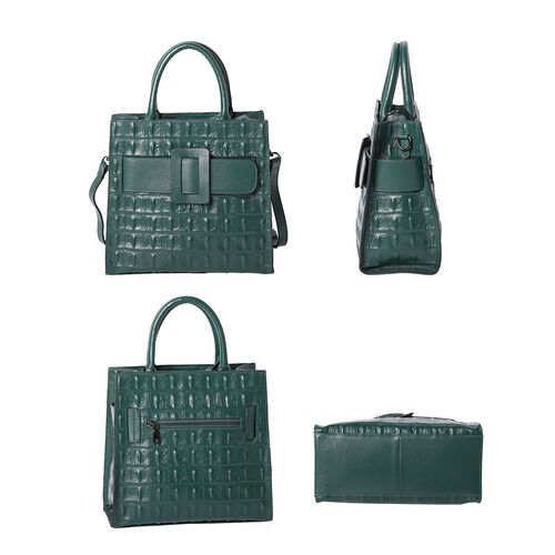 100% Genuine Leather Quilted Pattern Handbag with Buckle and Shoulder Strap (Size 30x15x31cm) - Green
