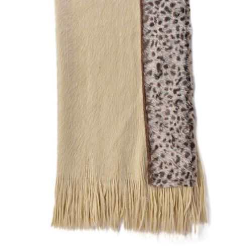 Leopard Pattern Beige and Chocolate Colour Shawl with Fringes (Size 160x55 Cm)