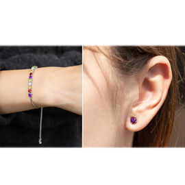 2 Piece Set 3.70 Ct Amethyst and Multi Gemstone Bolo Bracelet and Solitaire Stud Earrings