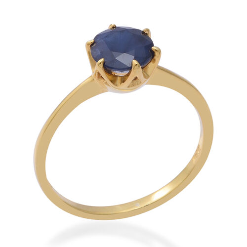 Kanchanaburi Blue Sapphire (Rnd 7mm) Solitaire Ring in  Yellow Gold Overlay Sterling Silver 1.550 Ct.