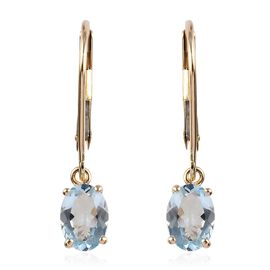 9K Yellow Gold AA Espirito Santo Aquamarine (Ovl) Lever Back Earrings 3.00 Ct.