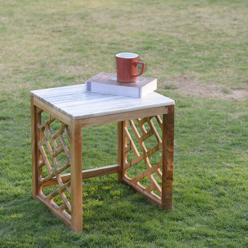 Luxury Edition - Natural Marble Side Table in Sand Colour with Mango Wood Base (Size 42X38X34 Cm)