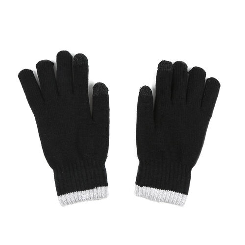 Ladies Warm Gloves with Embroidered Dog(One Size) - Black and Grey