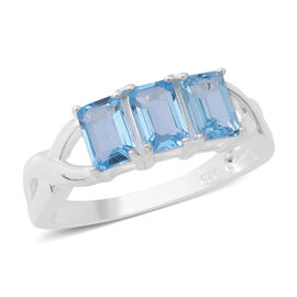 1.92 Ct Swiss Blue Topaz Trilogy Ring in Sterling Silver