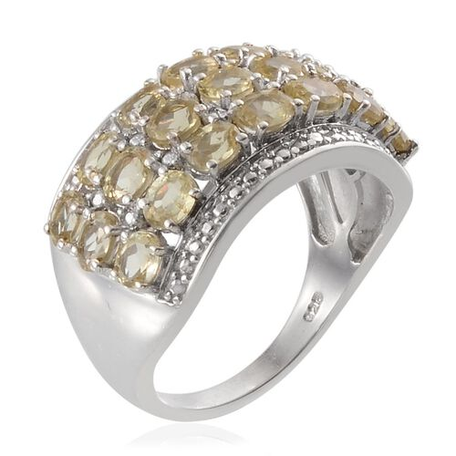 Madagascar Yellow Apatite (Ovl), Diamond Ring in Platinum Overlay Sterling Silver 3.770 Ct.
