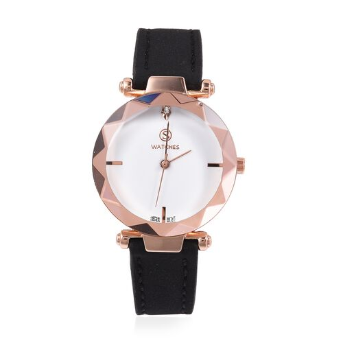 STRADA Japanese Movement White Austrian Crystal Studded Water Resistant Watch in Rose Gold Tone with Black Colour Strap.