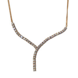 J Francis 14K Gold Overlay Sterling Silver Necklace (Size 18) Made with SWAROVSKI ZIRCONIA 11.51 Ct,