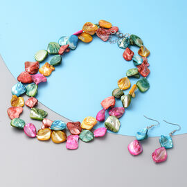 2 Piece Set -  Multi Colour Shell Necklace (Size 20 with 2 inch Extender) and Hook Earrings in Pure White Stainless Steel
