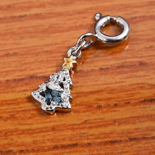 Blue and White Diamond Christmas Tree Charm in Platinum and Yellow Gold Overlay Sterling Silver