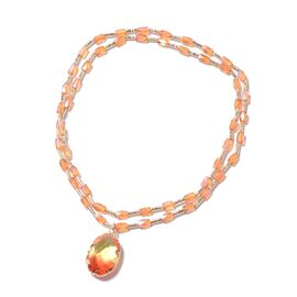 Simulated Citrine ,Champagne Colour Beads Stretchable Necklace (Size 20)