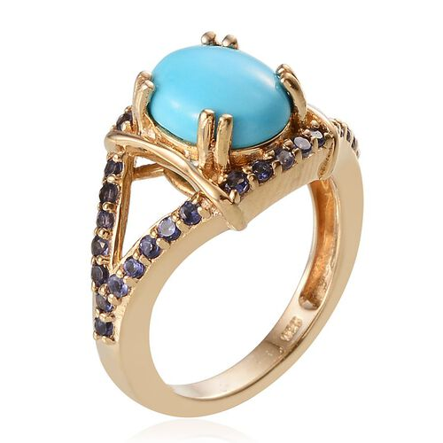 Arizona Sleeping Beauty Turquoise (Ovl 2.00 Ct), Iolite Ring in 14K Gold Overlay Sterling Silver 2.500 Ct.
