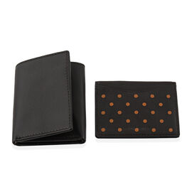 2 Piece Set - 100% Genuine Leather Brown Colour RFID Blocker Trifold Wallet (Size 22.5x10) and Card