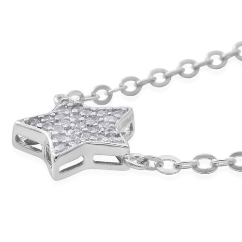 ELANZA Simulated White Diamond (Rnd) Star Necklace (Size 17) in Rhodium Plated Sterling Silver