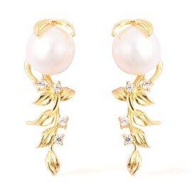 Champagne Edison Pearl and Natural Cambodian Zircon Earrings in Yellow Gold Overlay Sterling Silver