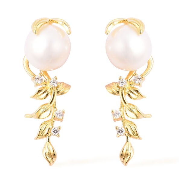 Edison Pearl and Natural Cambodian Zircon Earrings in Yellow Gold Overlay Sterling Silver