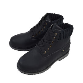 Women Lace-Up Ankle Boots Black