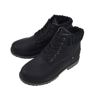 Women Lace-Up Ankle Boots - Black