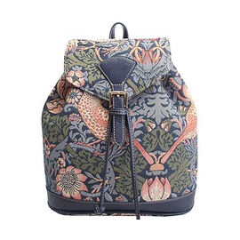 Signare - NEW Rucksack in Strawberry Thief Blue Design Backpack (25x13x28 cms) - Blue and Multicolou