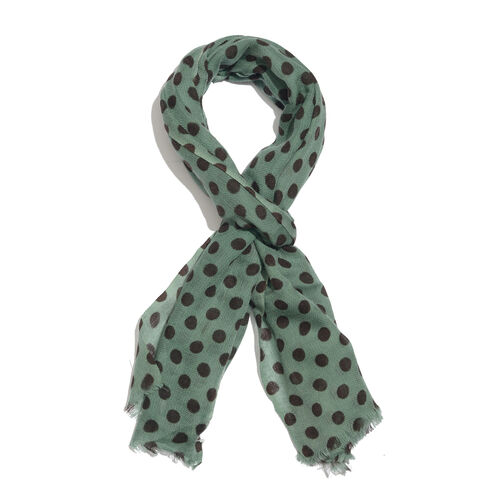 100% Merino Wool Green and Black Colour Polka Dots Printed Scarf with Fringes (Size 170X70 Cm)