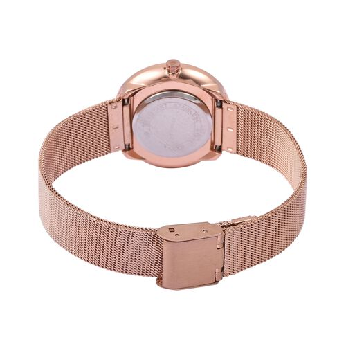 STRADA Japanese Movement Double Sunshine Dial Water Resistant Watch in Rose Gold Tone with Mesh Chain Strap