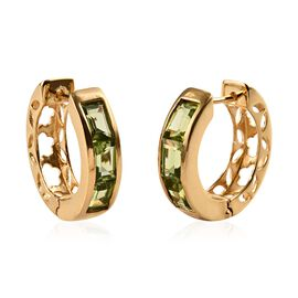 Hebei Peridot (Bgt) Hoop Earrings (with Clasp) in 14K Gold Overlay Sterling Silver 3.750 Ct, Silver