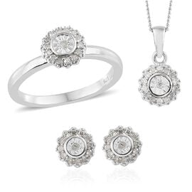 Diamond (Rnd) Ring, Earrings (With Push Back) and Pendant With Chain Set in Platinum Overlay Sterling Silver 0.330 Ct, Silver Wt: 5.33 Gms.