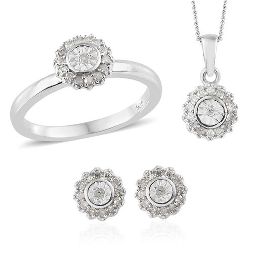 Diamond (Rnd) Ring, Earrings (With Push Back) and Pendant With Chain Set in Platinum Overlay Sterlin
