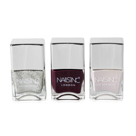 Nails Inc: Trio Nail Varnish Set & Pouch (Incl. Sloane Mews - 14ml, Electric Avenue - 14ml & White H