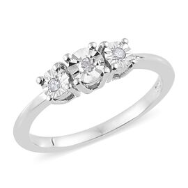 Diamond Platinum Overlay Sterling Silver Ring  0.050  Ct.